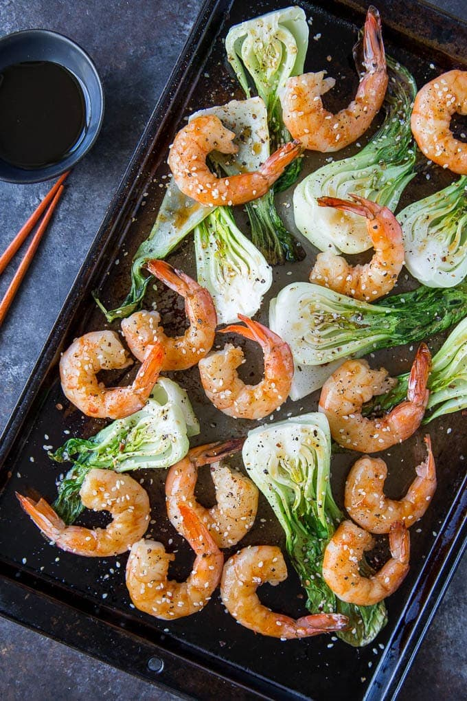 Sheetpan Terriyaki Shrimp + Sesame Bok Choy featured