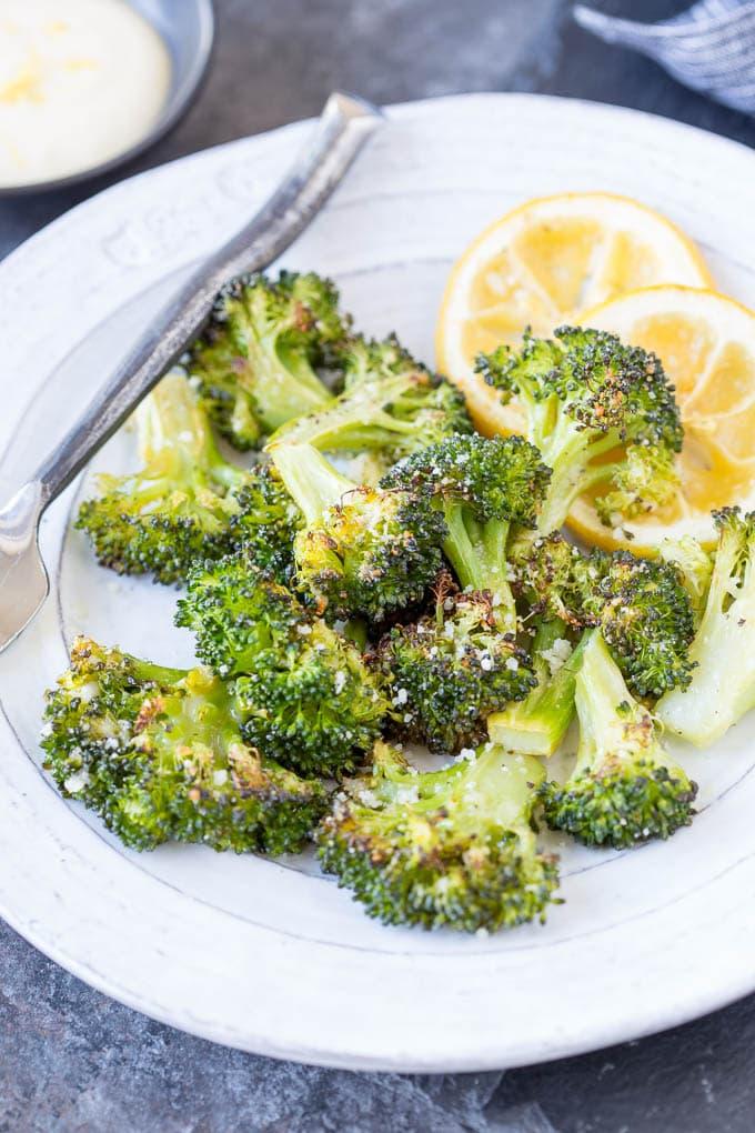 Parmesan Roasted Broccoli + Lemon Aioli
