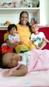 Kavitha Lawrence with kids
