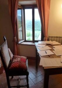 John's work desk in Tuscany.