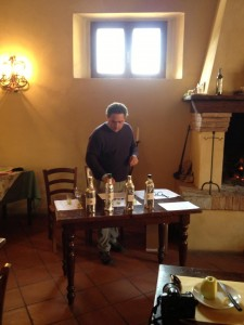 Massimo prepares for the olive oil tasting.