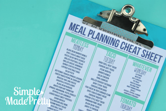Meal Planning 101: Use a Cheat Sheet