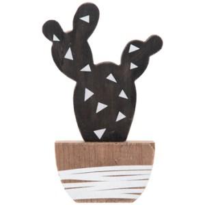 cactus noir brun et blanc en bois