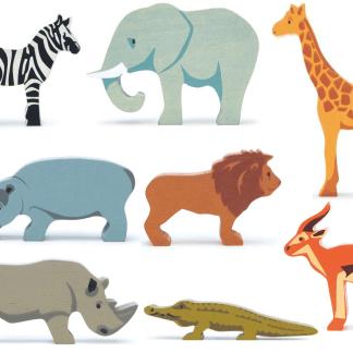 animaux de la savane en bois