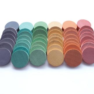60 pièces rondes en bois teints