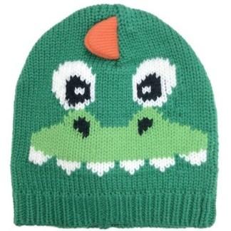 Tuque en tricot d'un dragon vert