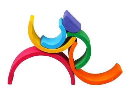 Arc-en-ciel en bois empilable de 6 couleurs