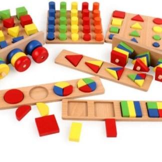 Puzzles fractions et formes en bois