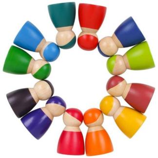 LARGE 12 Peg Dolls aux couleurs de l'arc-en-ciel