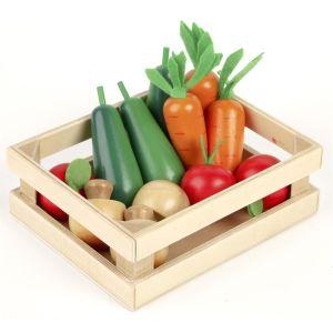 Panier de légumes d'hiver en bois