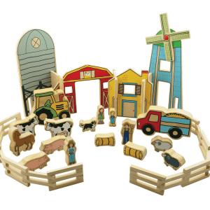 Ferme en bois avec animaux et personnages