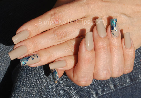 Blue Marble Flower Nail Art Tutorial 6 Intermediate