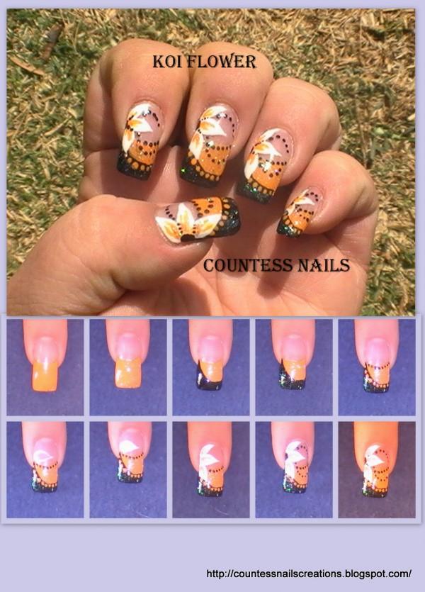 Black Orange Flower Nail Art Tutorial E1348259908435 Koi Flowers Entry
