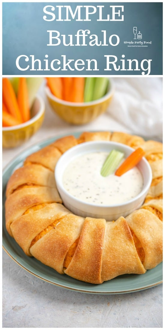 SIMPLE Buffalo Chicken Ring made with buffalo chicken, premade pizza dough and baked until golden #buffalochicken #partyfood #appetizers #simplepartyfood
