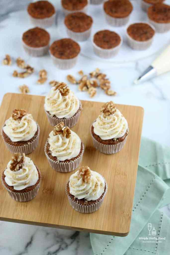 SIMPLE Carrot Cake Cupcakes - all the flavors of your favorite carrot cake in a muffin! #cupcakes #carrotcake #easter #easterrecipes #simplepartyfood