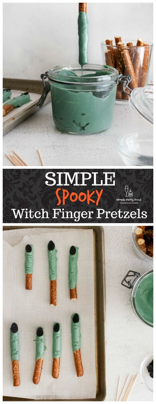 SIMPLE Witch Finger Pretzel Rods - a deliciously spooky treat for halloween #halloweensnacks
