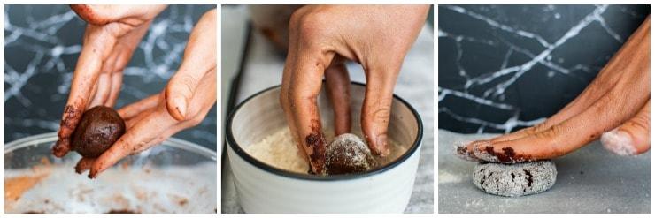How to make Chocolate Crinkle Christmas cookies step by step #christmascookies #simplepartyfood