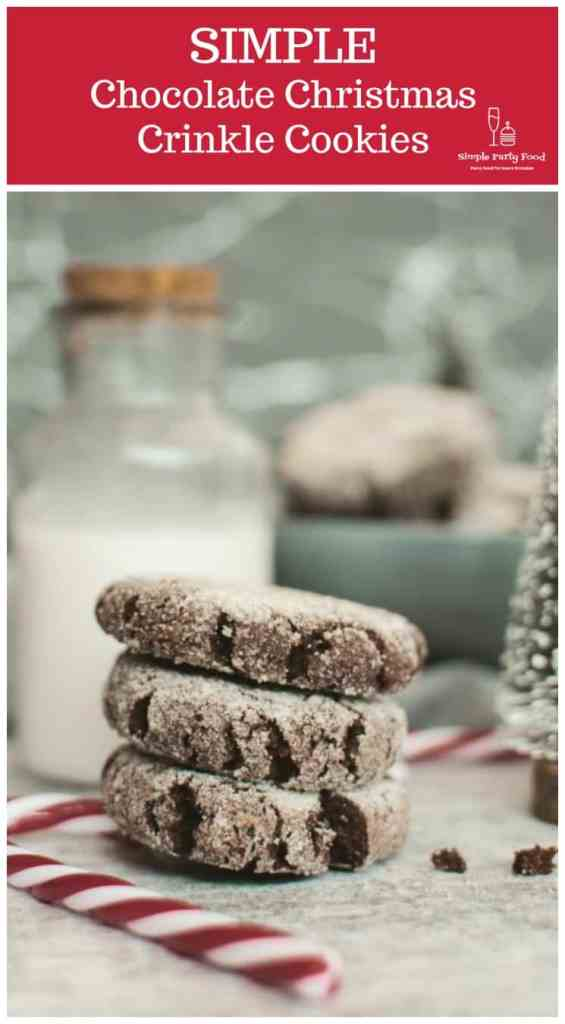 SIMPLE Chocolate Crinkle Christmas Cookies - perfect for your next christmas cookie exchange #christmascookies #simplepartyfood