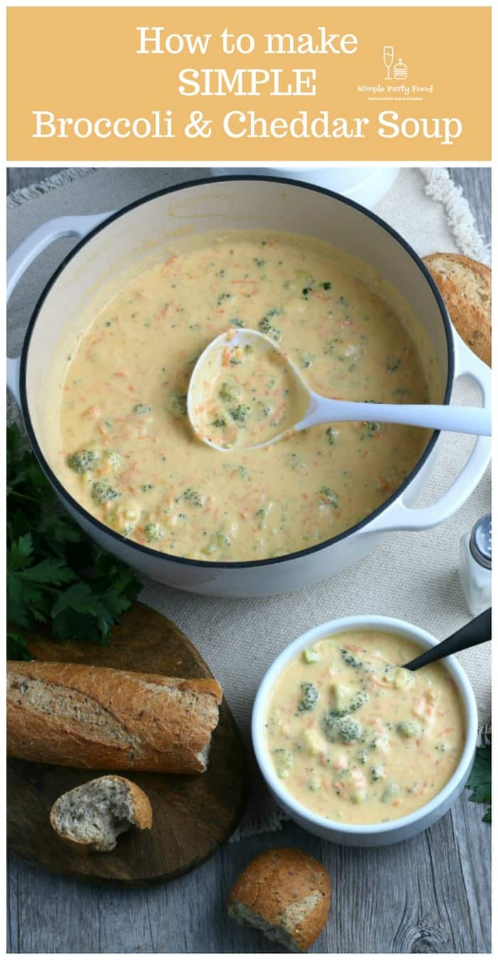 How to make Simple Broccoli & Cheddar Soup just like Panera using a Dutch oven - #cheddarbroccolisoup #panerasoup #simplepartyfood