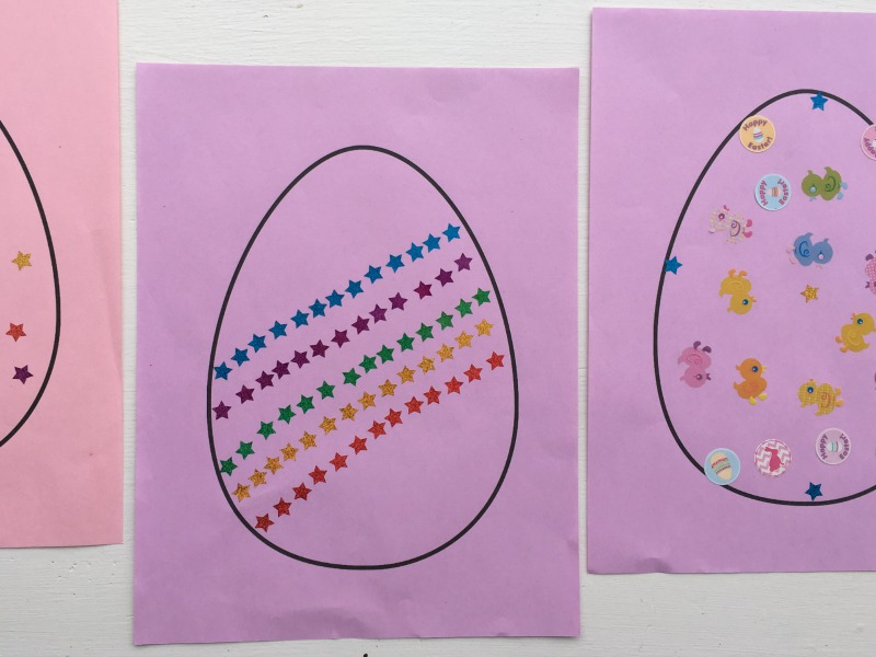 Simple Easter egg craft for kids - make sticker eggs!