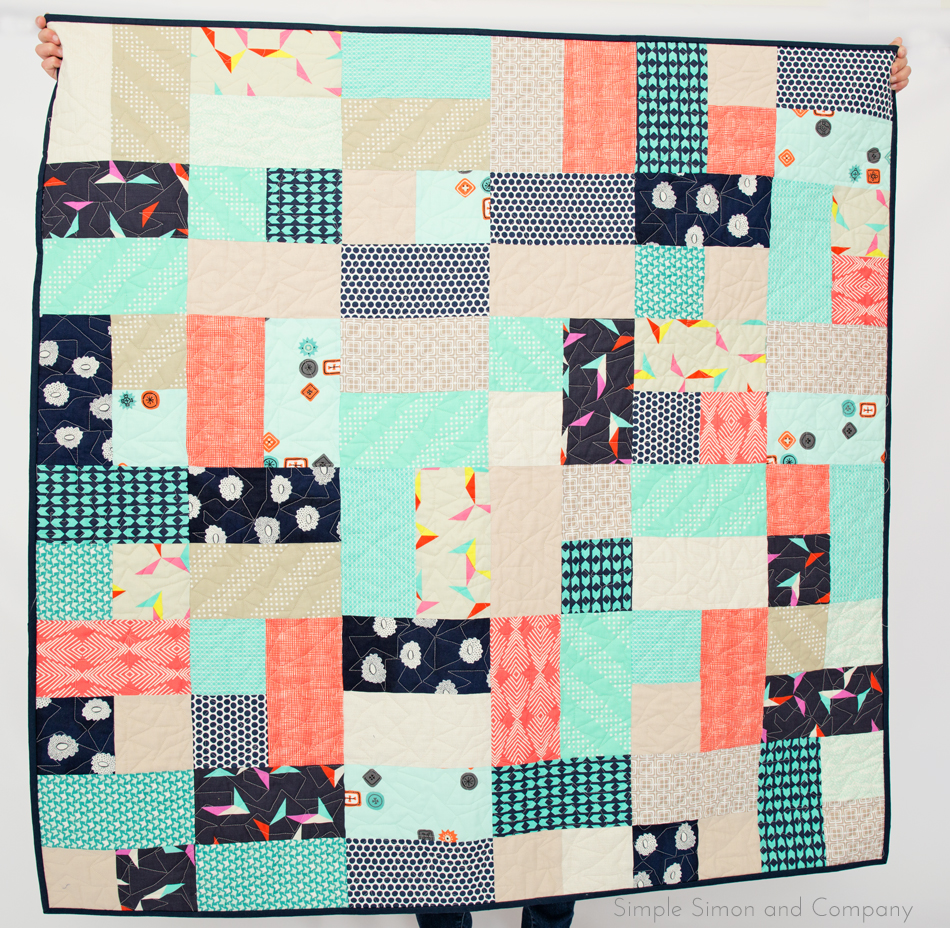 baby quilt coral and navy
