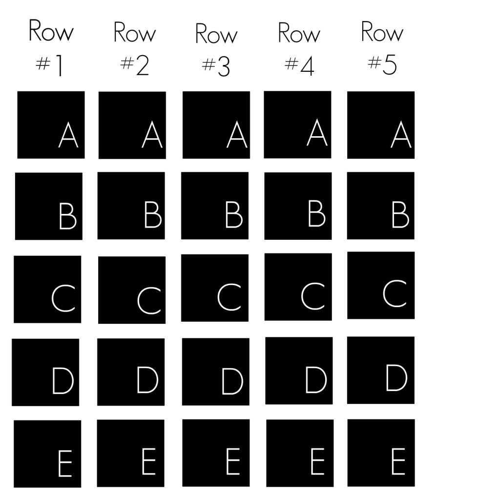 5 x 5 quilt layout