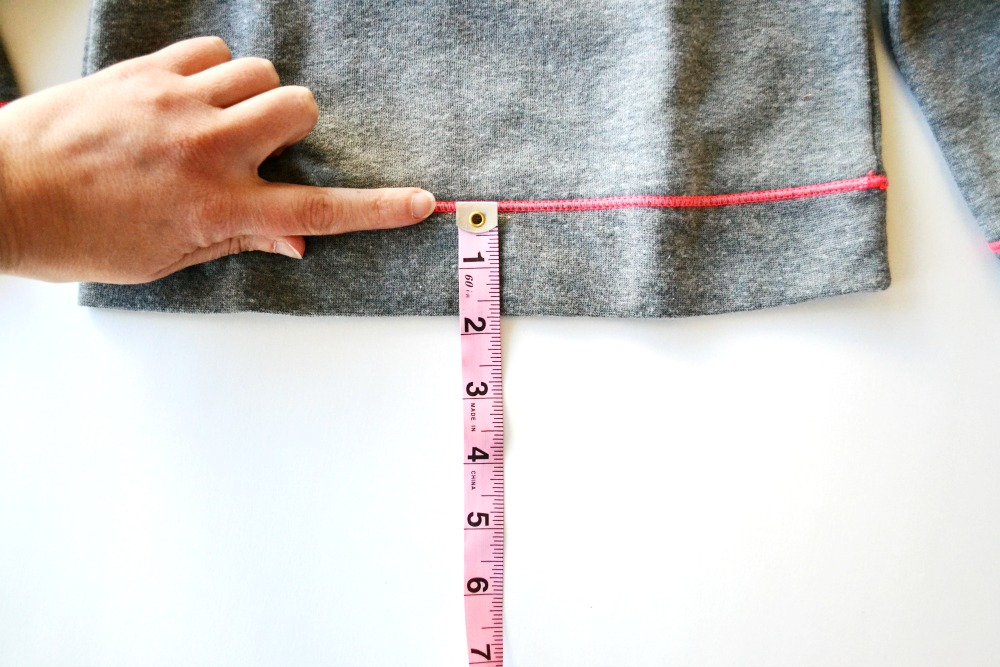 Sweatshirt to dress step 2