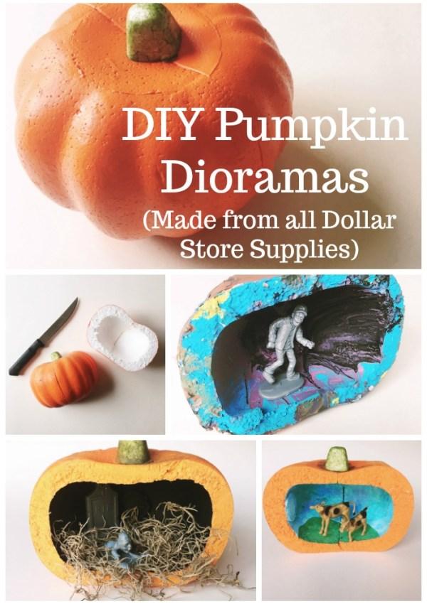 DIY Pumpkin Dioramas (Made with Dollar Store Styrofoam Pumpkins)