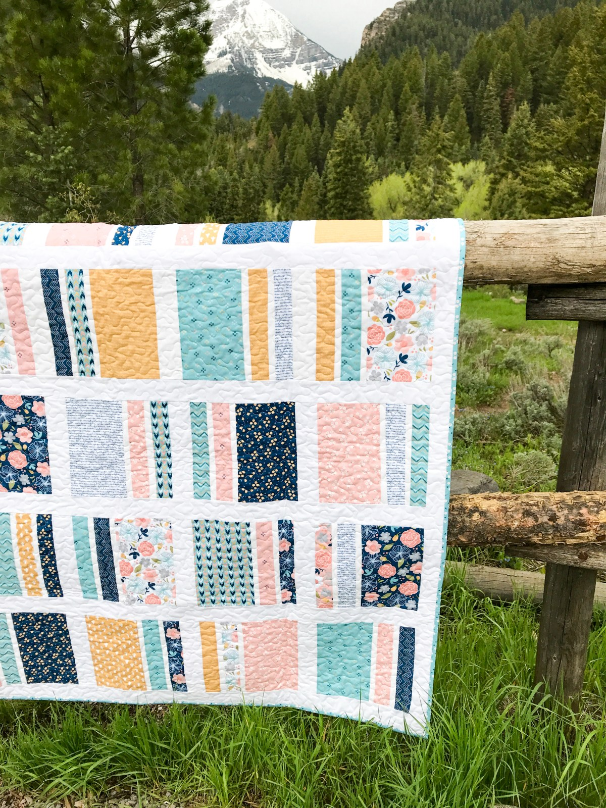 Peaches N' Cream Quilt in Azure Skies Details