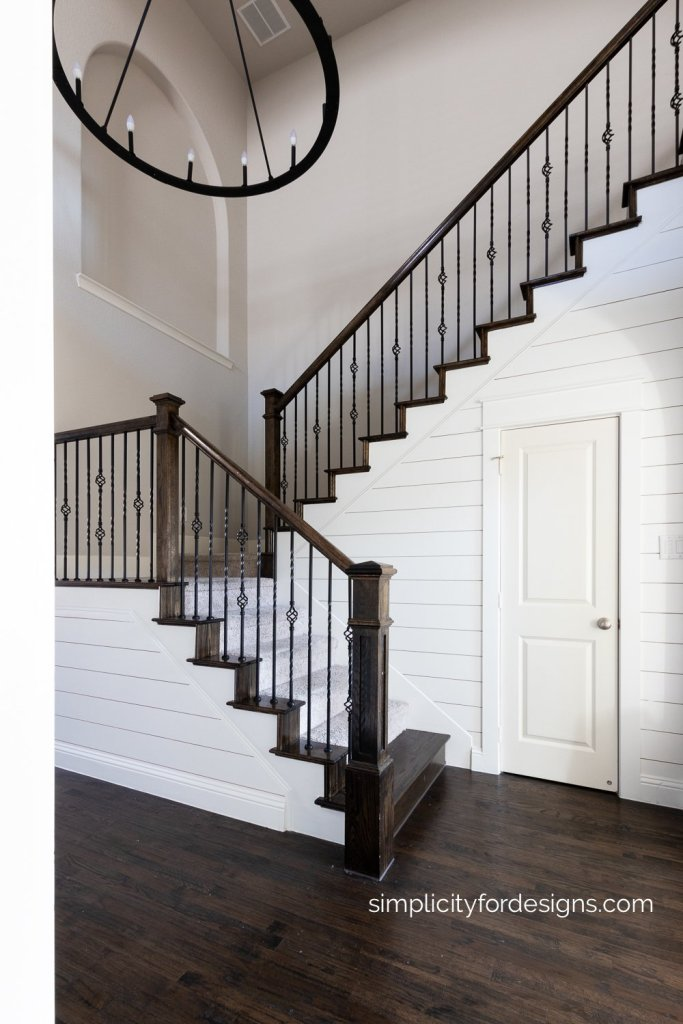 faux shiplap on the walls - Benjamin Moore Chantilly Lace