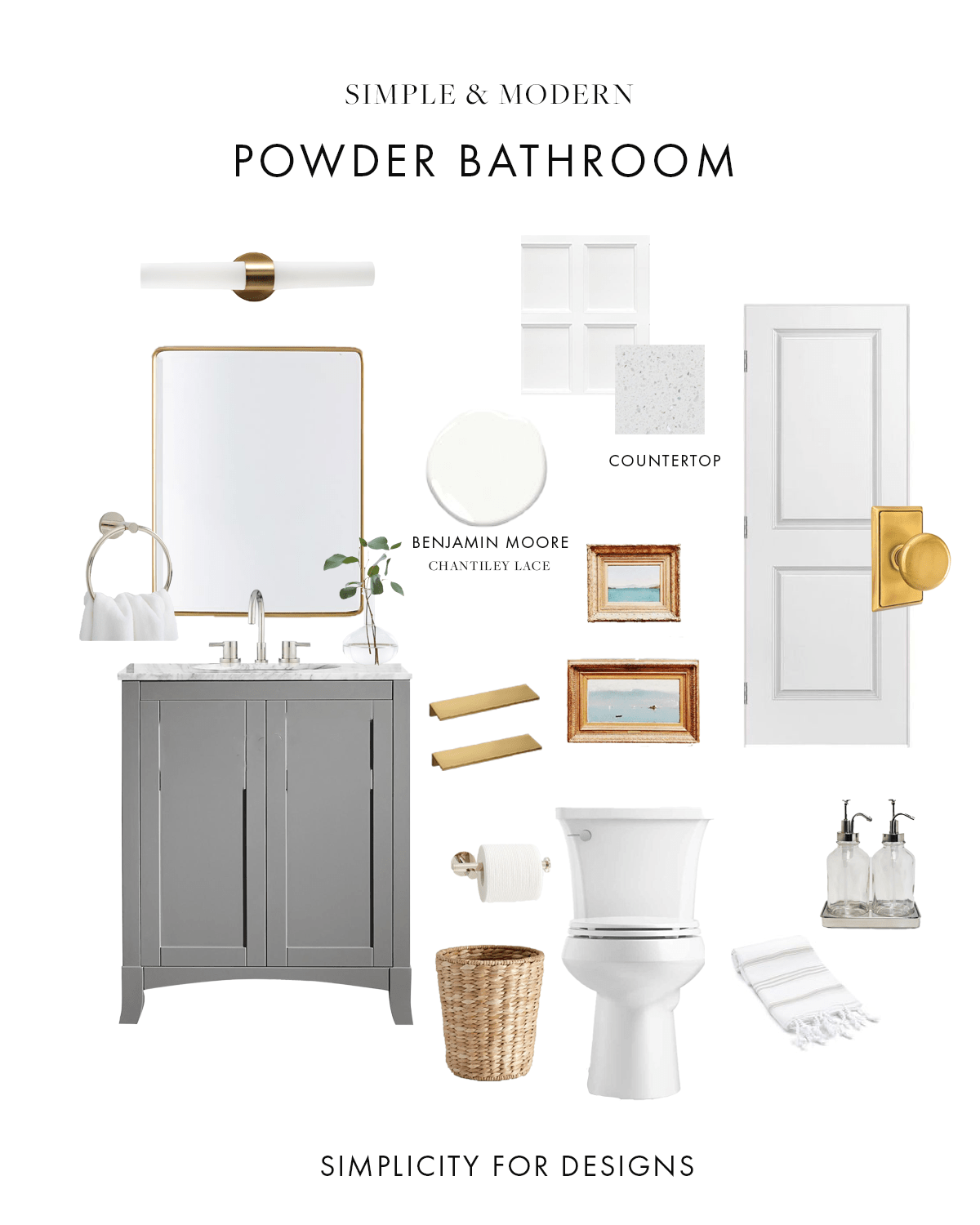 powder bathroom design board