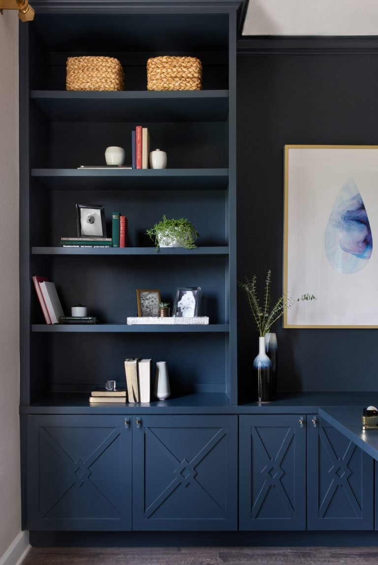 before - home office design ideas - dark deep blue cabinets