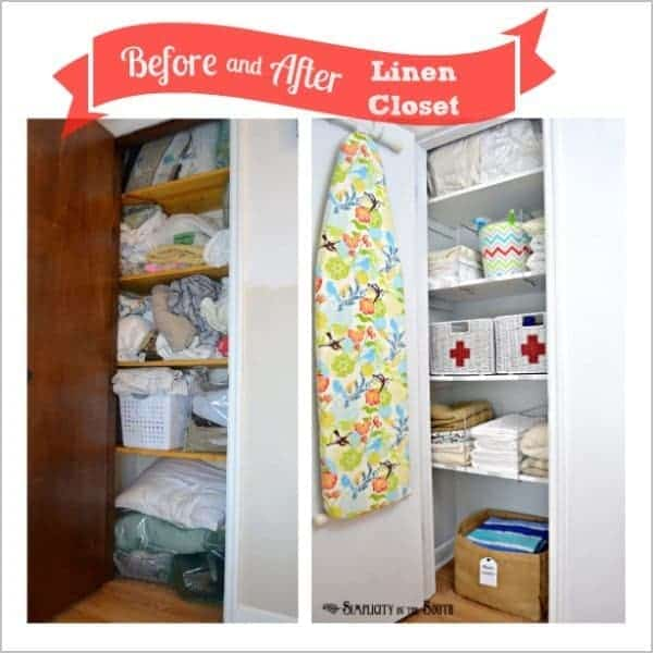 Before and after picture of organized linen closet