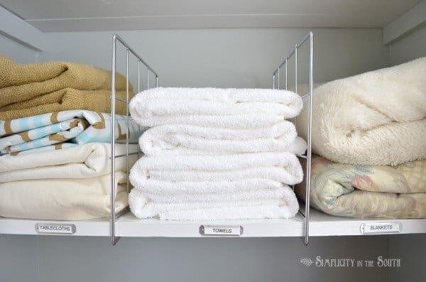 linen closet organization ideas. labeling shelves