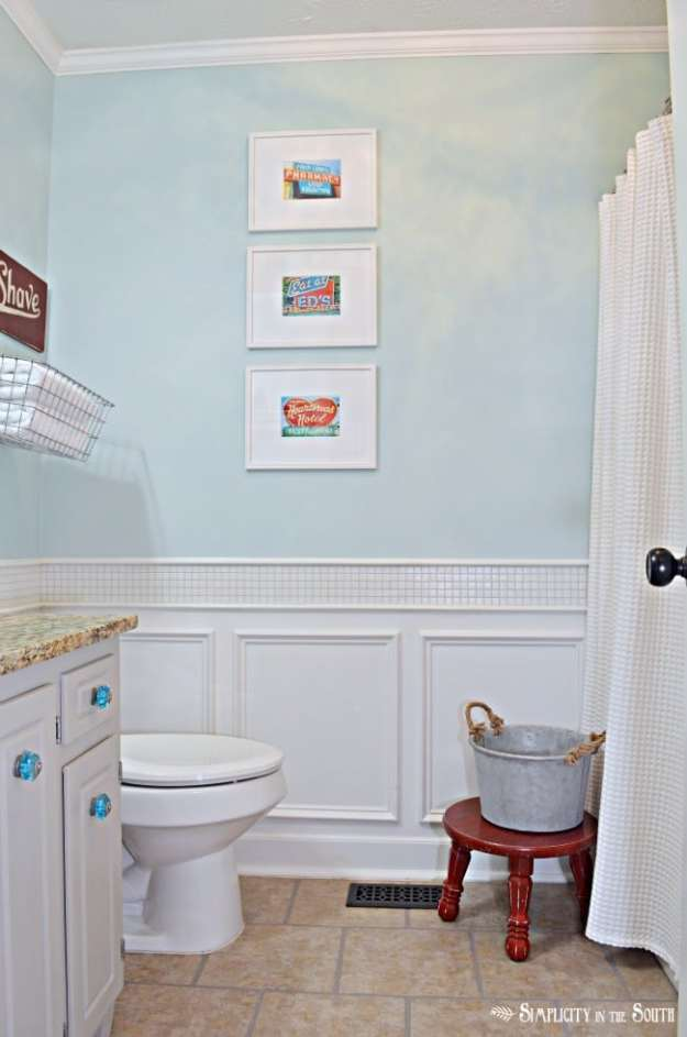 vintage inspired red and turquoise bathroom