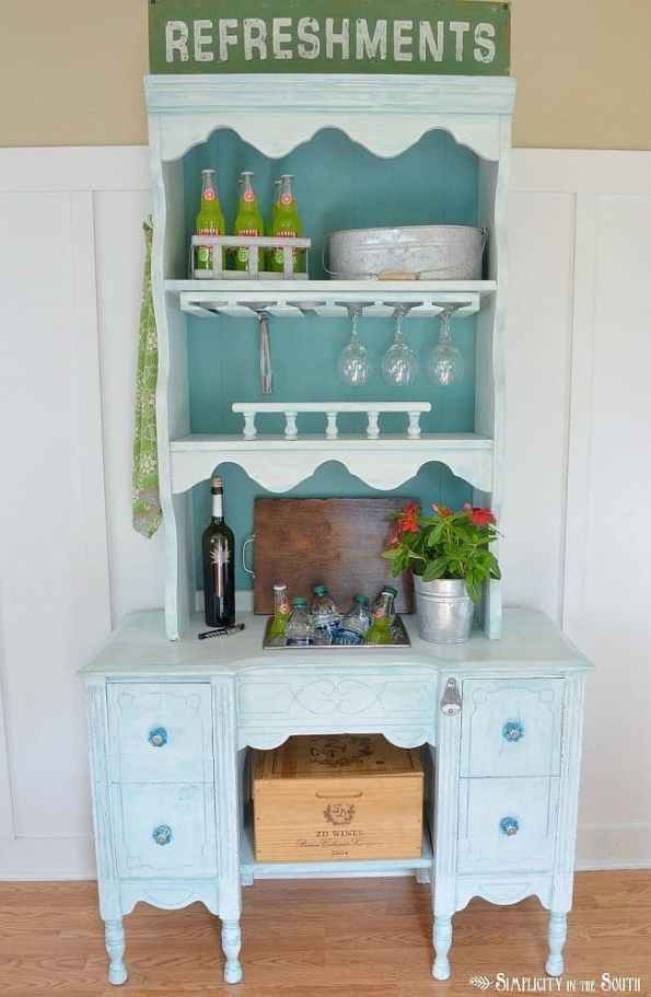 Beverage station made from a hutch and desk.