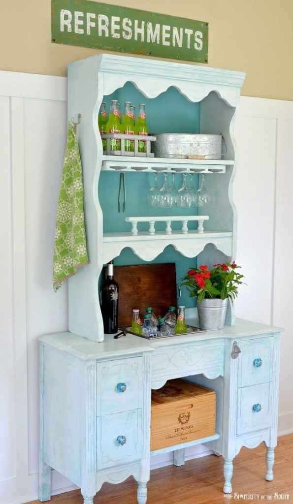 Convert a desk and hutch into a beverage station