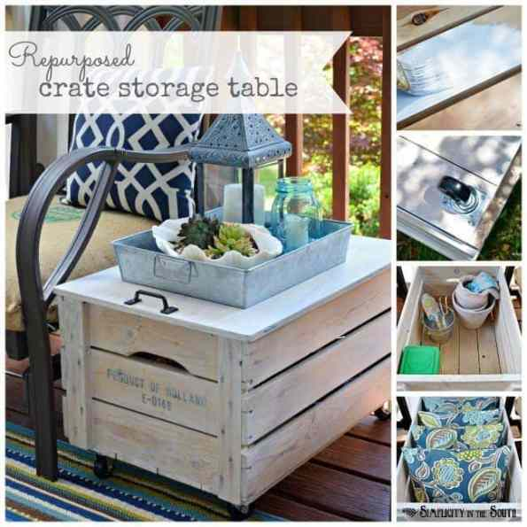 repurposed crate storage table