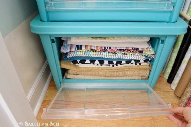 Fabric storage with Rubbermaid's All Access Organizers