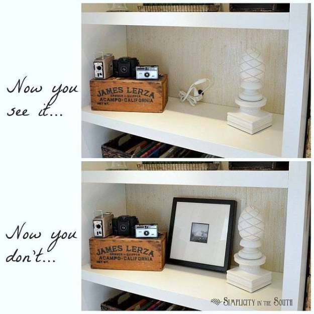 how to hide cords in a bookcase