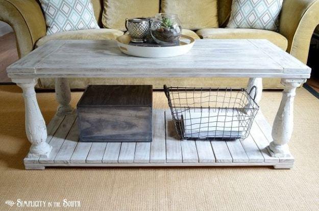 Restoration Hardware knock off salvaged wood balustrade coffee table tutorial.