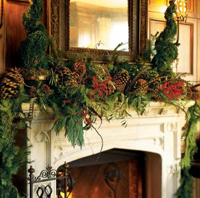 Holiday Decor  Ideas for Decorating the Mantel for Christmas     Here s a collection of mantels decorated in a variety of styles for the  Christmas holiday  From opulent to simple  classic to rustic  and  monochromatic to