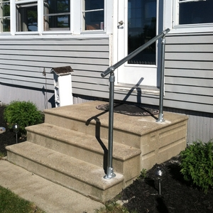 Outdoor Stair Railing Kit Buy Step Handrail Online Simplified | Handrails For Outdoor Steps | Plastic | Galvanized Steel | Solid Wood | Rail | Simple