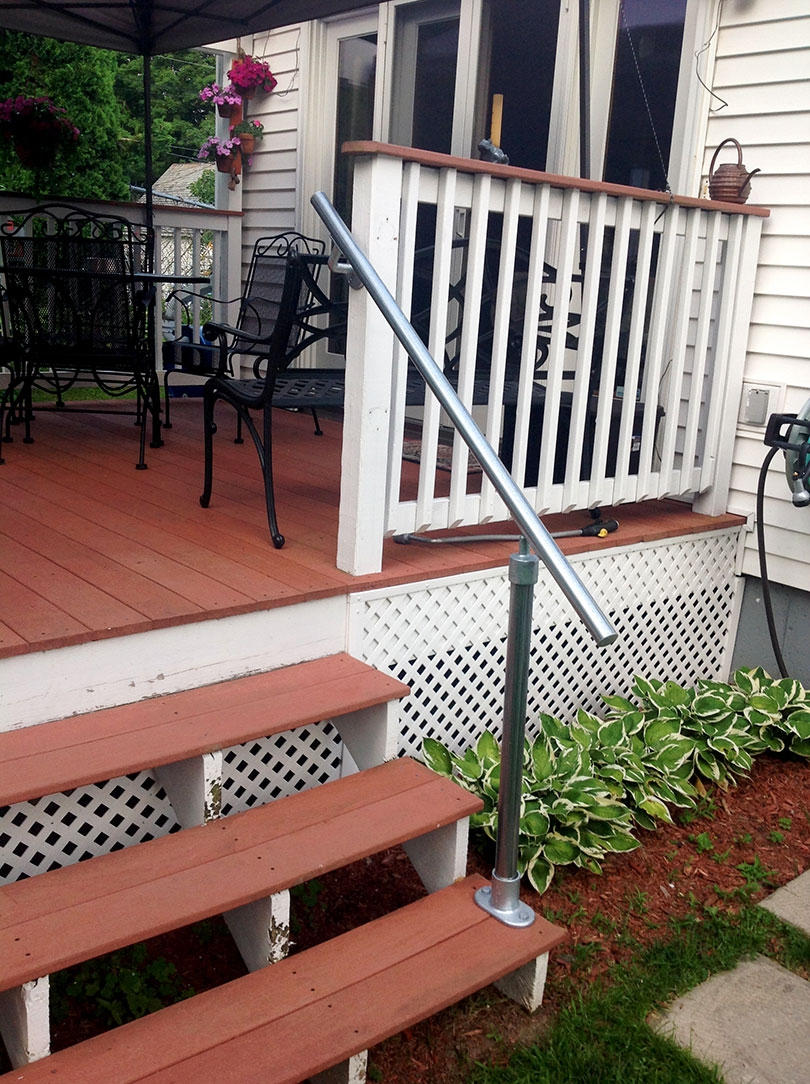 13 Outdoor Stair Railing Ideas That You Can Build Yourself | 2 Step Outdoor Stairs | Landing | Exterior | Redwood Deck | Cantilever Deck | 8 Foot