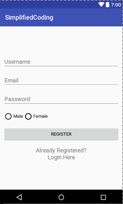 registration form in android studio code