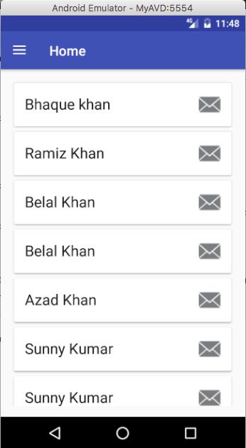 home screen listing users