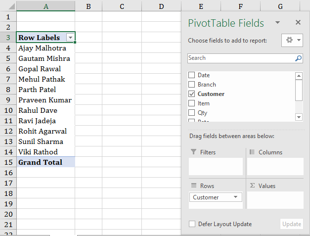 using row label in pivot table