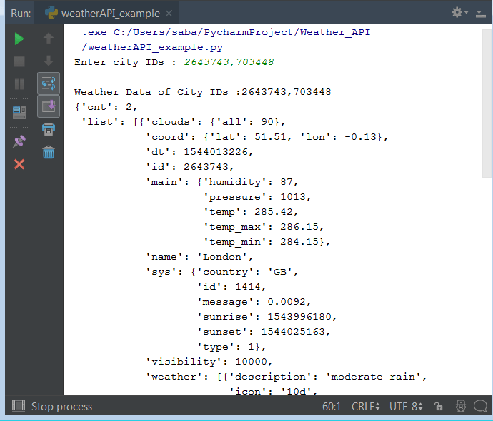 OpenWeatherMapAPI Python