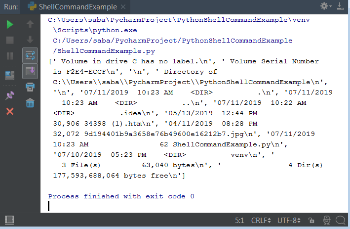 Python Run Shell Command On Windows