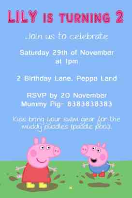 peppa pig invitation